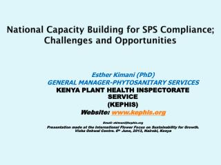 National Capacity Building for SPS Compliance; Challenges and Opportunities