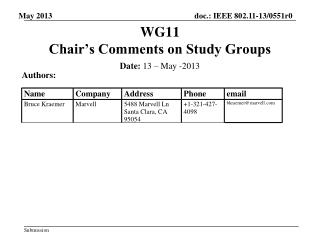 WG11   Chair's Comments on Study Groups