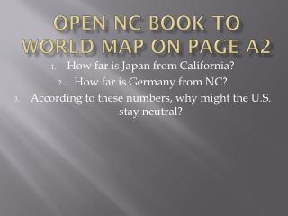Open NC book to world map on page A2