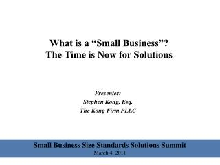 "What is a ""Small Business""? The Time is Now for Solutions"