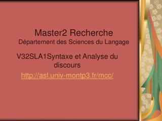 Master2 Recherche D partement des Sciences du Langage