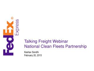 Talking Freight Webinar National Clean Fleets Partnership