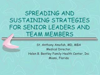 SPREADING AND SUSTAINING STRATEGIES FOR SENIOR LEADERS AND TEAM MEMBERS