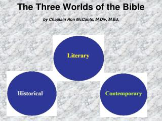 The Three Worlds of the Bible by Chaplain Ron McCants, M.Div, M.Ed.