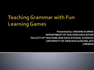 Teaching Grammar with Fun Learning Games