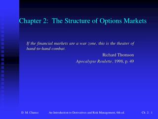Chapter 2:  The Structure of Options Markets