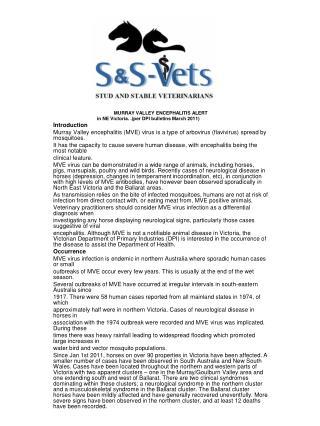 MURRAY VALLEY ENCEPHALITIS ALERT in NE Victoria. .(per DPI bulletins March 2011) Introduction