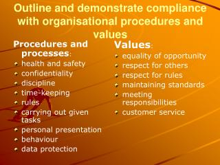 Outline and demonstrate compliance with organisational procedures and values
