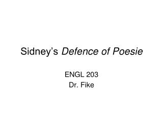 Sidney's  Defence of Poesie
