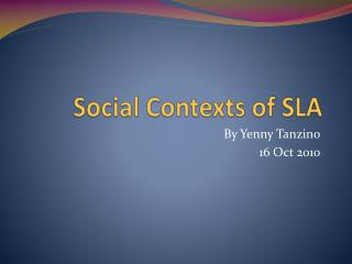 Social Contexts of SLA