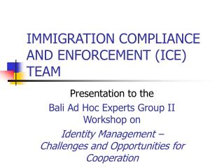 IMMIGRATION COMPLIANCE AND ENFORCEMENT (ICE) TEAM