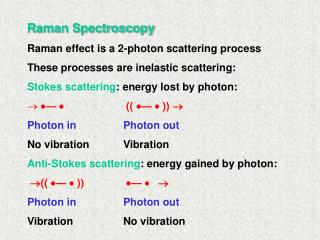 Raman Spectroscopy Raman effect is a 2-photon scattering process