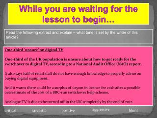 While you are waiting for the lesson to begin�