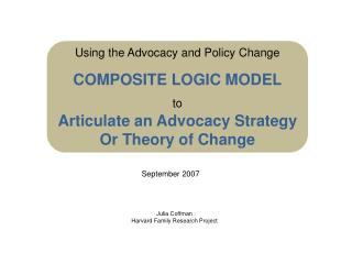 Using the Advocacy and Policy Change COMPOSITE LOGIC MODEL to Articulate an Advocacy Strategy