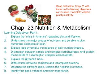 Chap -23 Nutrition & Metabolism