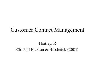 Customer Contact Management