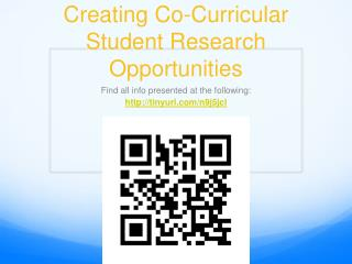 Creating Co-Curricular Student Research Opportunities