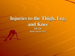 Injuries to the Thigh, Leg, and Knee PE 236 Juan Cuevas, ATC