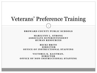 Veterans' Preference Training