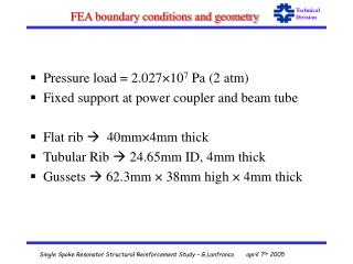 FEA boundary conditions and geometry
