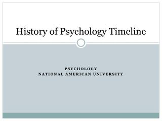 History of Psychology Timeline
