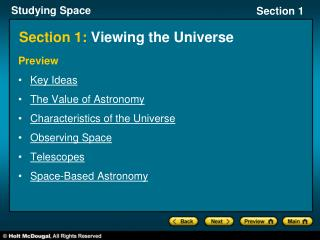 Section 1:  Viewing the Universe