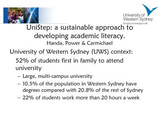 UniStep: a sustainable approach to developing academic literacy. Handa, Power & Carmichael