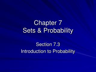 Chapter 7  Sets & Probability