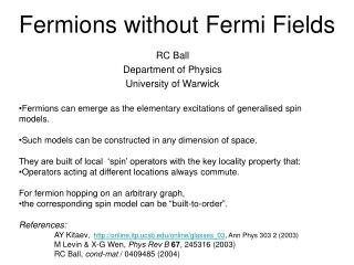 Fermions without Fermi Fields