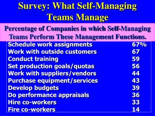 Survey: What Self-Managing Teams Manage