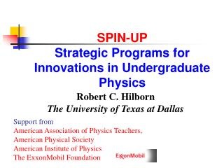 SPIN-UP Strategic Programs for Innovations in Undergraduate Physics
