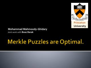 Merkle  Puzzles are Optimal.