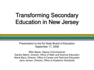 Transforming Secondary Education in New Jersey