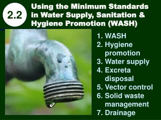 Using the Minimum Standards in Water Supply, Sanitation & Hygiene Promotion (WASH)