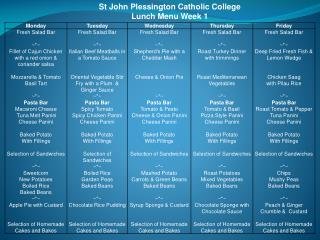 St John Plessington Catholic College Lunch Menu Week 1