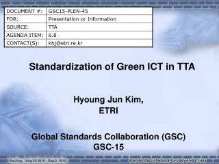 Standardization of Green ICT in TTA