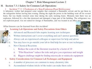 Chapter 7: Risk Management Lecture 2 H.Section 7.3.1 Safety for Common Lab Operations