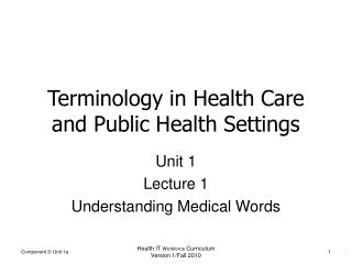 Terminology in Health Care and Public Health Settings
