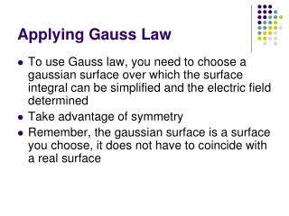 Applying Gauss Law
