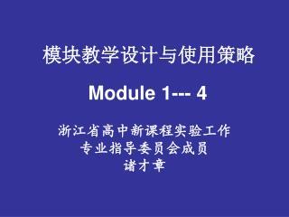 模块教学设计与使用策略