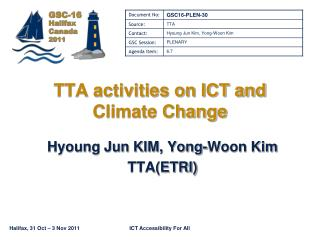 TTA activities on ICT and Climate Change