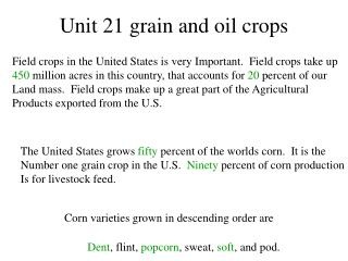 Unit 21 grain and oil crops