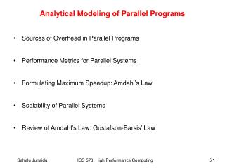 Analytical Modeling of Parallel Programs