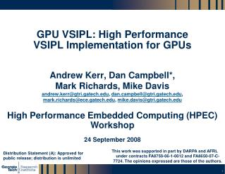 GPU VSIPL: High Performance VSIPL Implementation for GPUs