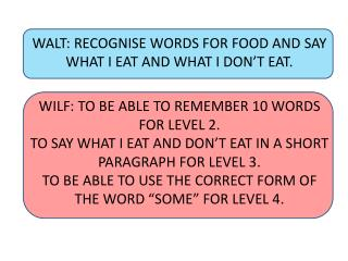 WALT: RECOGNISE WORDS FOR FOOD AND  SAY WHAT  I EAT AND WHAT I DON'T EAT.