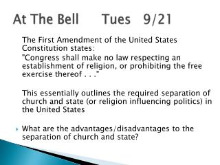 At The Bell		Tues   9/21