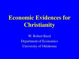 Economic Evidences for Christianity