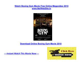 Boxing Gym Movie Free Online Review