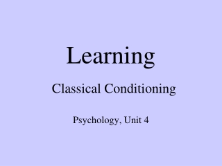 Classical  Conditioning   Drug  Effects