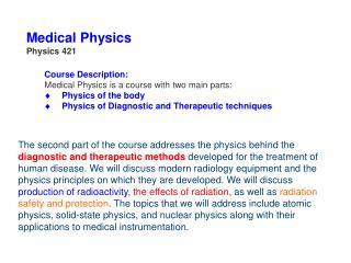 Medical Physics Physics 421